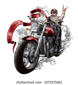 """Illustration with an elderly biker on a large powerful motorcycle. The inscription """"my old age will be such."""" Smoke, Beard, sunglasses and cigar, leather clothes. Rock and metal."""