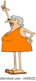 Illustration of an elderly gray haired woman wearing an orange dress pointing up with her finger.