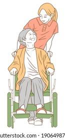 車いすや介護者のお年寄りのイラスト。