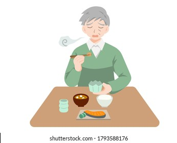 Illustration of an elderly person eating alone