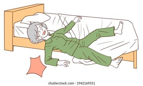 ベッドから落ちる老人のイラスト。