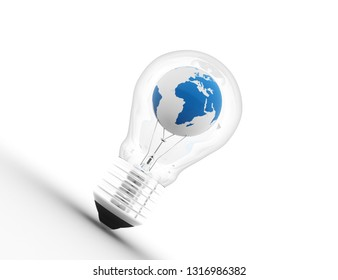 Illustration of an electric light bulb with a world globe. Conceptual illustration. 3D rendering illustration
