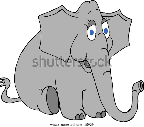 Illustration of an elephant with big blue eyes