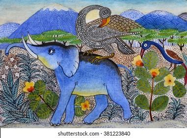 Illustration of elephant, drawn manually