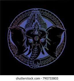 Illustration of an elephant ganesha, a Hindu god. Color gradient drawing