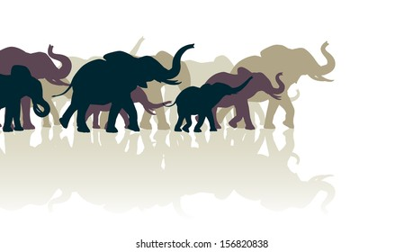 Illustration of an elephant herd with reflections