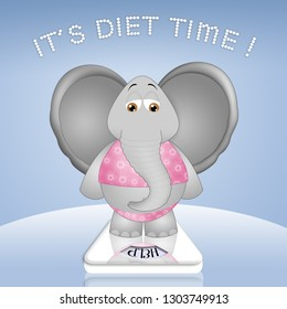 an illustration of elephant who has to lose weight