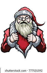 Illustration emblem with Santa. He tears open his coat in a super hero style