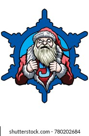 Illustration emblem with Santa. He tears open his coat in a super hero style. A snowflake on the background