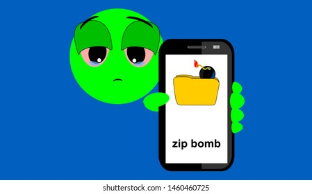 Illustration of emoticon showing a zip bomb on the mobile phone screen. Is a malicious archive file, also known as a zip of death or decompression bomb,  Expression of sadness. Blue background.