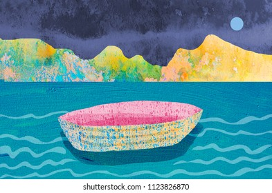 Illustration of empty boat drifts in the lake against the background of the mountains and the full moon in the night sky.