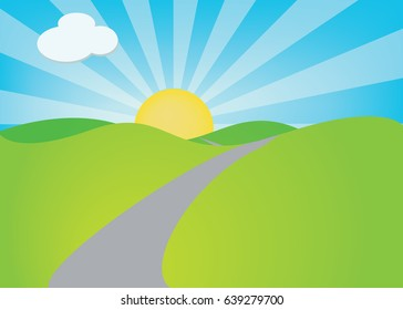 Illustration of empty road heading into a rising sun