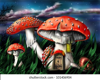 Illustration of enchanted magical mushrooms in the forest
