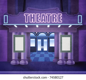 Illustration of the entry of a theater. Night scene with neon lights. The space in the playbills is empty, allowing a text to be written