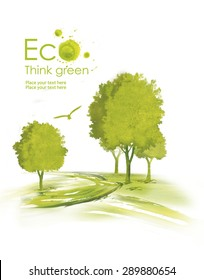 Illustration environmentally friendly planet. Green tree planting along the road from watercolor stains,isolated on a white background. Think Green. Ecology Concept.