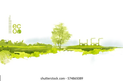 Illustration of environmentally friendly planet. Green factory and tree on the field, planting from watercolor stains,isolated on a white background. Think Green. Ecology Concept.