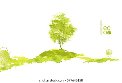 Illustration of environmentally friendly planet. Green tree on the hill, panting from watercolor stains, isolated on a white background. Think Green. Ecology Concept.