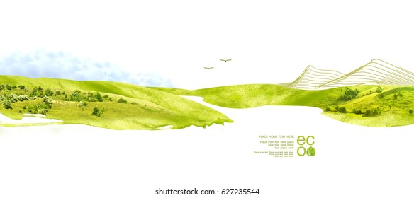 Illustration of environmentally friendly planet. Green tree on the hill and mountains, panting from watercolor stains, isolated on a white background. Think Green. Ecology Concept.
