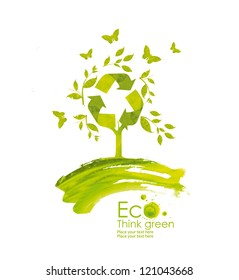 Illustration environmentally friendly planet from watercolor stains,isolated on a white background.. Green tree bloom. Recycle sign.  Think Green. Ecology Concept.