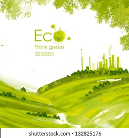 Illustration environmentally friendly planet.Green factory on the hill and trees, hand drawn from watercolor stains, isolated on a white background. Think Green. Eco Concept.