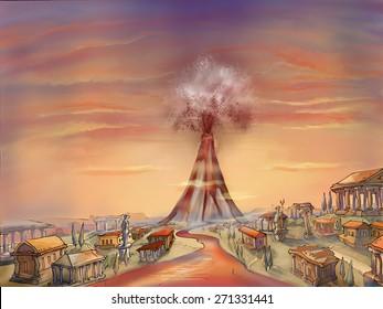 Illustration. The eruption of the volcano Mount Vesuvius. Pompeii. Vesuvius.