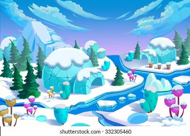 Illustration: The Eskimo Igloo Town. The Bridge, The Ice River, The Ice Mountain, The Ice Flowers, The Green Pine Trees. Realistic Cartoon Style Creative Scenery / Wallpaper / Background Design.