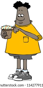 Illustration of an ethnic boy holding a large cupcake with sprinkles on the frosting.