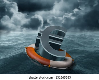 Illustration of a euro symbol being saved from stormy weather