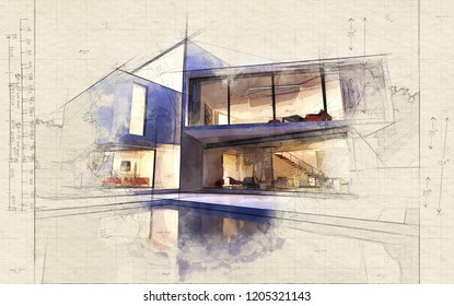 Illustration of External view of a modern house with pool at dusk