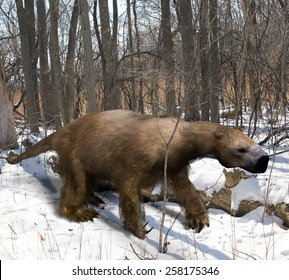 An illustration of the extinct giant ground sloth Megalonyx slowing making his way through an Ice Age Ohio forest. Megalonyx jeffersonii was a large, heavily built animal (10 ft ) of the Pleistocene.