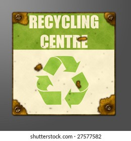 Illustration of an extremely rusted metal sign for a recycling centre.