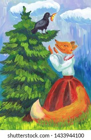 """Illustration to the fable by I.A. Krylov """"Crow and a fox"""". Children's drawing"""