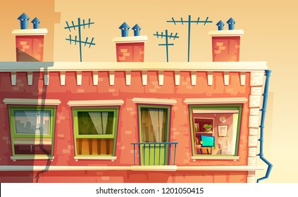 illustration of facade multi-storey apartment, home outside concept, roof of the building with tv antennas. Architecture in cartoon style. Advertising, promotion background.