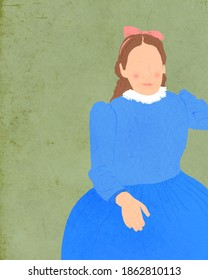 Illustration of a faceless woman in a blue dress.