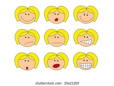 illustration of faces with different emotions, isolated on white