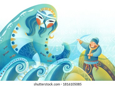 illustration of a fairy tale about a fisherman and the spirit of water