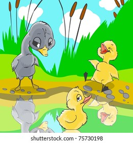 Illustration for fairytale Ugly duckling. Ducks mocked at ugly duckling.