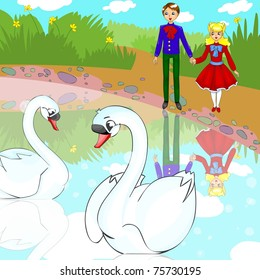 Illustration for fairytale Ugly duckling. People look at a couple in love swans.