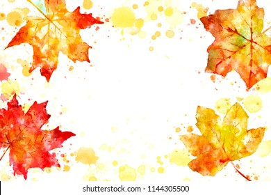 Illustration of fall image. Autumn background with yellow and red maple leaves. Digital watercolor painting.
