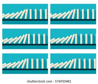 Illustration of falling white dominoes sprite sheet with blue background. Can be used for GIF animation