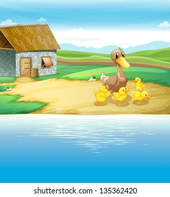 Illustration of a family of duck near the river