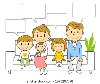 Illustration of a family of five sitting on a sofa