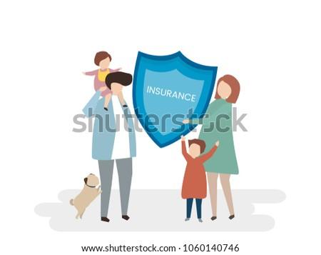Illustration Family Life Insurance Stock Illustration 1060140746