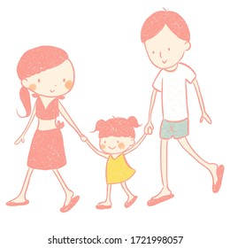 Illustration of family, parents and daughter