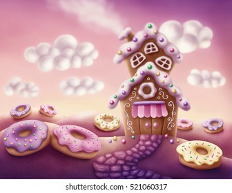 Illustration of fantasy colorful houses