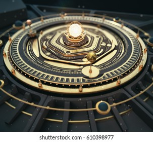illustration fantasy dieselpunk solar system model astrolabe Steampunk Background. 3D render