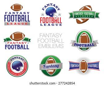 Illustration of Fantasy Football emblem and badges.