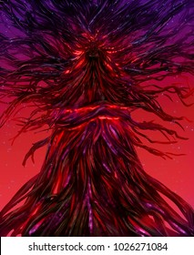 Illustration of a fantasy goddess locked in a fire glowing spell tree with crimson background.