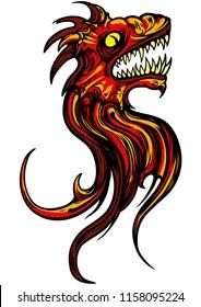 Illustration fantasy sign of roaring dragon head