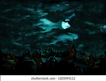 Illustration a fantasy town night scape with lights, sky with the moon and clouds on the background